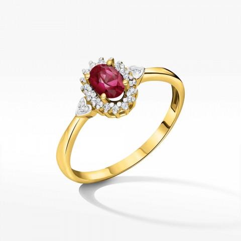 Pierścionek ze złota z rubinem i brylantami