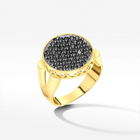 Elegancki złoty pierścionek z czarnymi cyrkoniami