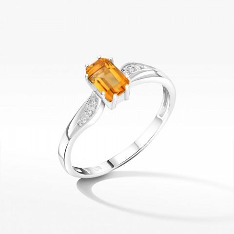 Pierścionek ze złota z cytrynem i brylantami