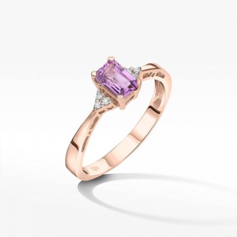 Złoty pierścionek z ametystem i brylantami