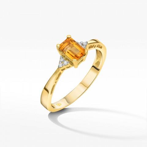 Złoty pierścionek z cytrynem i brylantami