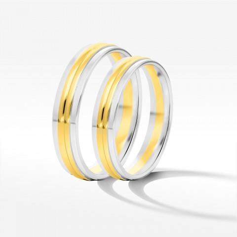 Obrączki ślubne z dwukolorowego złota 5mm płaskie