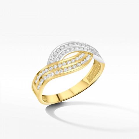 Bogato zdobiony cyrkoniami złoty pierścionek