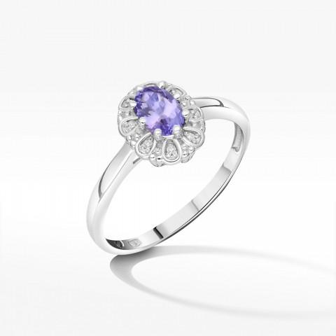 Złoty pierścionek z tanzanitem i brylantami