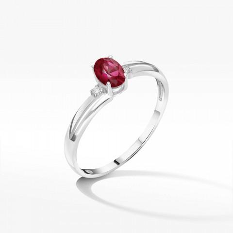 Złoty pierścionek z rubinem i brylantami