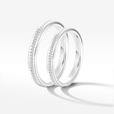Obrączki ślubne z białego złota 2.5mm płaskie