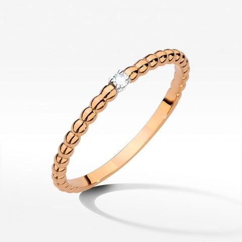 Pierścionek z brylantem z różowego złota