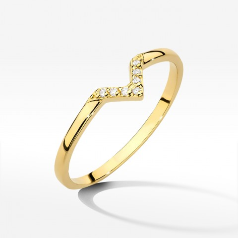 Pierścionek z brylantami z żółtego złota