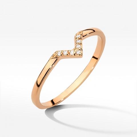 Pierścionek z brylantami z różowego złota