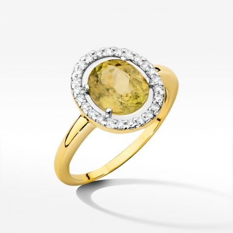 Pierścionek z żółtego złota z sułtanitem