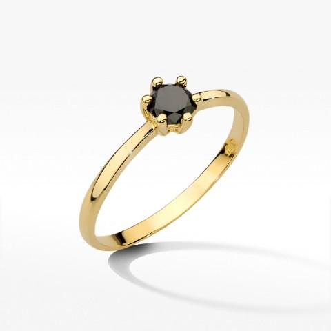 Pierścionek z żółtego złota z czarnym brylantem