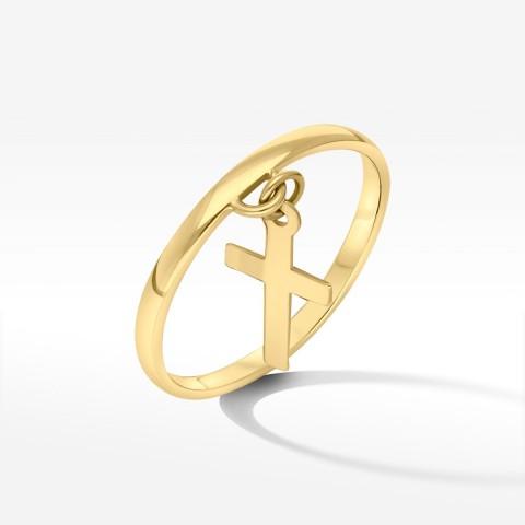 Złoty pierścionek z krzyżem