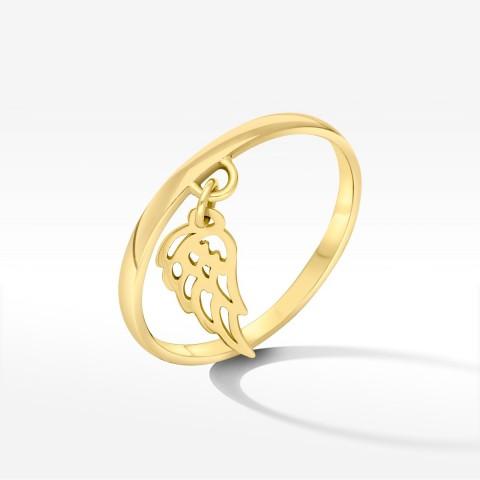 Złoty pierścionek ze skrzydełkiem