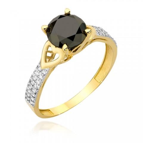 Pierścionek ze złota z czarnymi brylantami