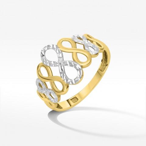 Dwukolorowy pierścionek ze złota