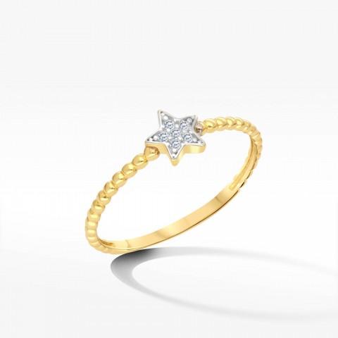 Pierścionek ze złota z gwiazdką