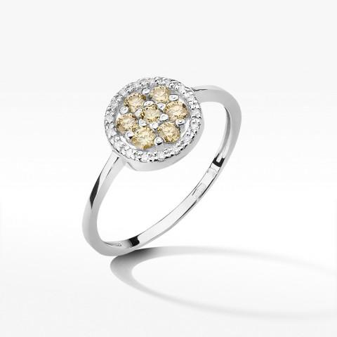 Złoty pierścionek z brązowymi brylantami