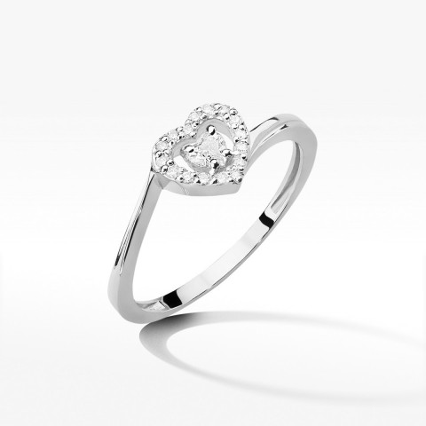 Złoty pierścionek serce z brylantami