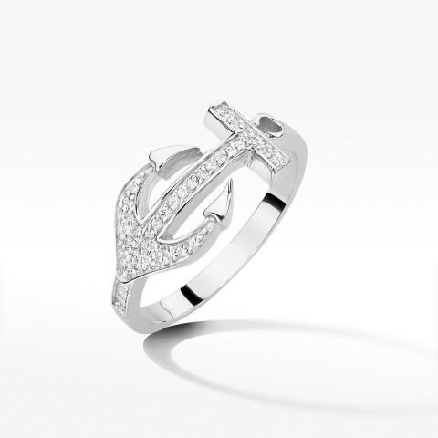 Złoty pierścionek z brylantami kotwica