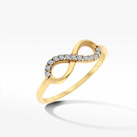 Pierścionek ze złota z symbolem nieskończoności