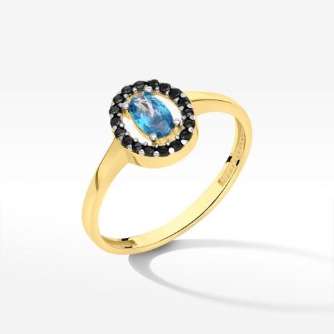 Pierścionek ze złota z niebieską cyrkonią