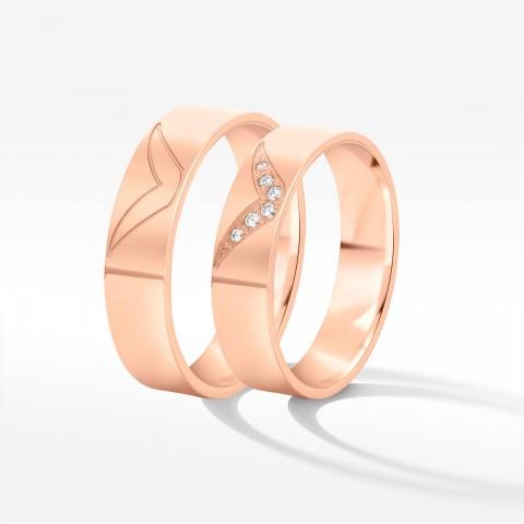 Obrączki ślubne z różowego złota 5.5mm płaskie