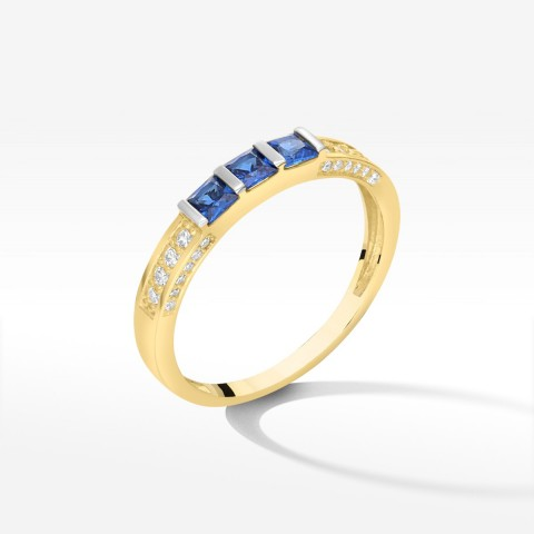 Pierścionek ze złota z niebieskimi cyrkoniami