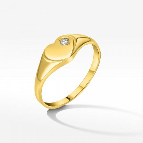 Pierścionek ze złota serce z cyrkonią