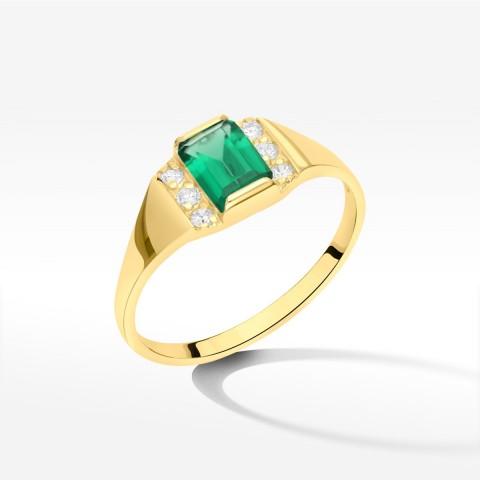 Pierścionek ze złota z zieloną cyrkonią