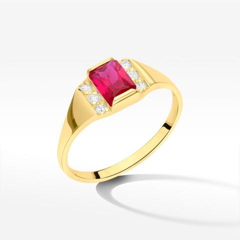 Pierścionek ze złota z różową cyrkonią