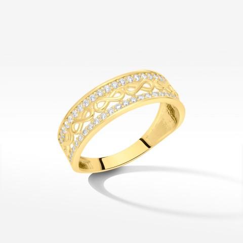 Pierścionek ze złota z symbolami nieskończoności