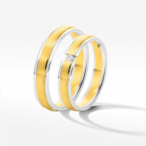 Obrączki ślubne z dwukolorowego złota 4|8mm płaskie