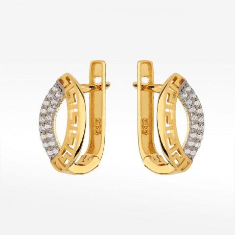 Kolczyki ze złota z greckim wzorem