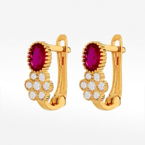 Kolczyki ze złota z fioletową cyrkonią