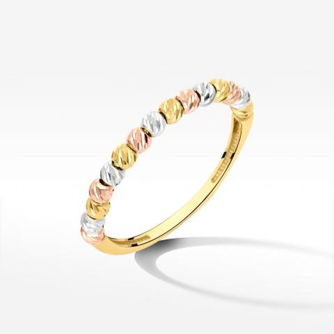 Pierścionek ze złota trójkolorowy