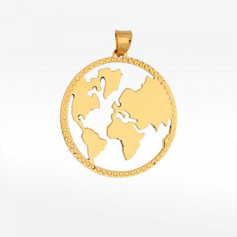 Zawieszka ze złota mapa świata