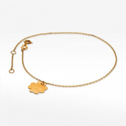 Bransoletka ze złota na nogę z koniczynką
