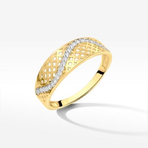 Pierścionek ze złota z cyrkoniami