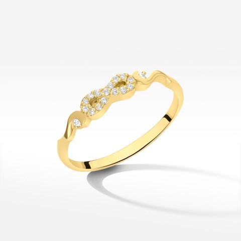 Pierścionek ze złota symbol nieskończoności