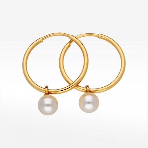 Kolczyki ze złota 2,0cm koła z perłą