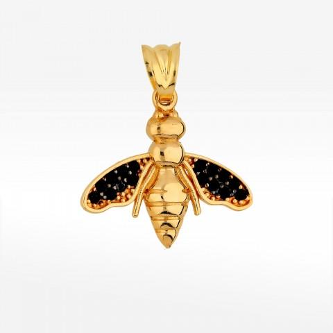 Zawieszka ze złota pszczoła z czarnymi cyrkoniami