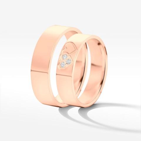 Obrączki ślubne z różowego złota 5mm płaskie