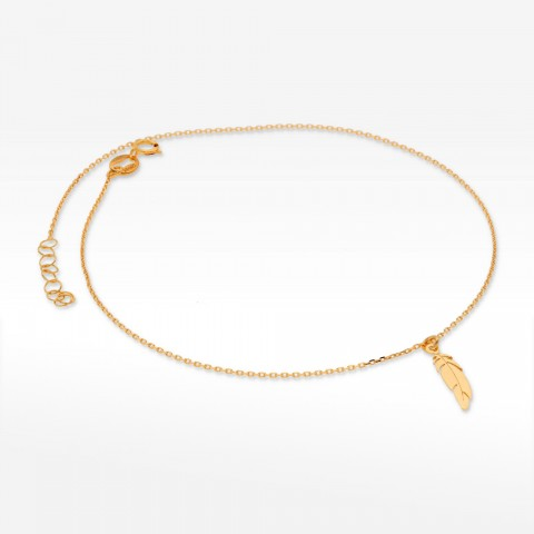 Bransoletka ze złota na nogę piórko