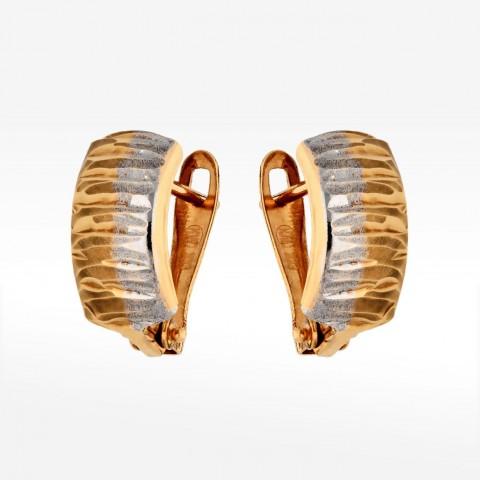 Dwukolorowe złote kolczyki z angielskim zapięciem