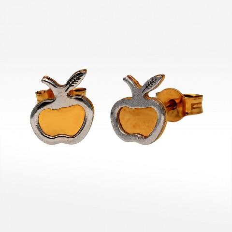 Złote kolczyki dwukolorowe na sztyft jabłuszka