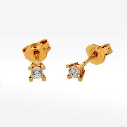 Klasyczne kolczyki ze złota z cyrkonią
