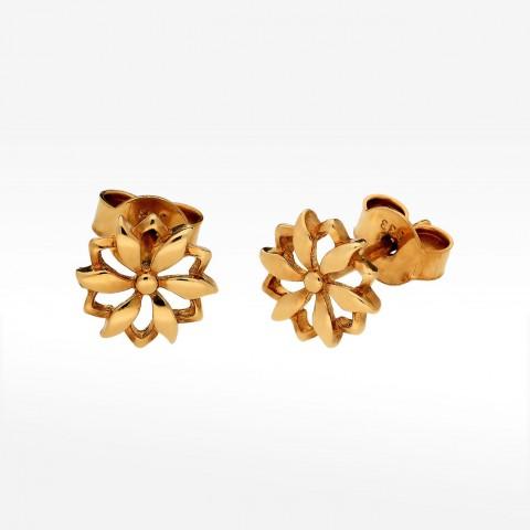 Złote kolczyki na sztyft kwiat