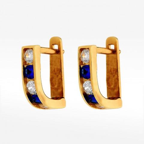 Kolczyki ze złota z niebieskimi i białymi cyrkoniami