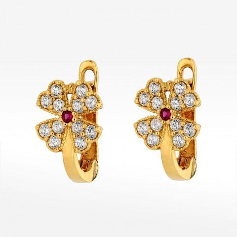 Kolczyki ze złota kwiatuszek z czerwoną cyrkonią