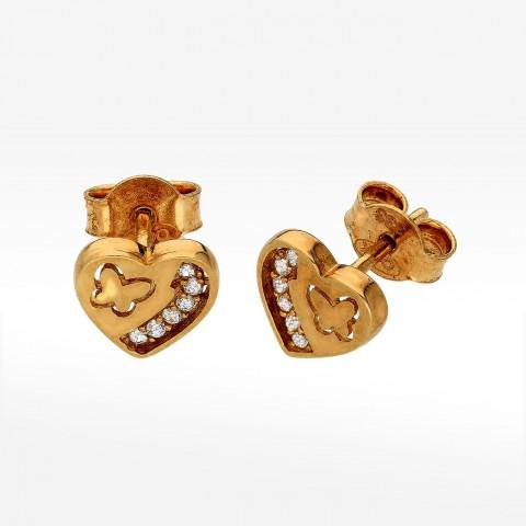złote kolczyki w kształcie serca z motylkiem i cyrkoniami